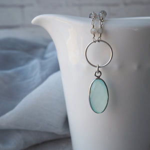 Aqua Chalcedony Pendant Gemstone Necklace by Wallis Designs