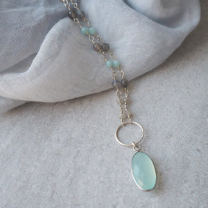 Gemstone Necklace with Aqua Chalcedony and Labradorite