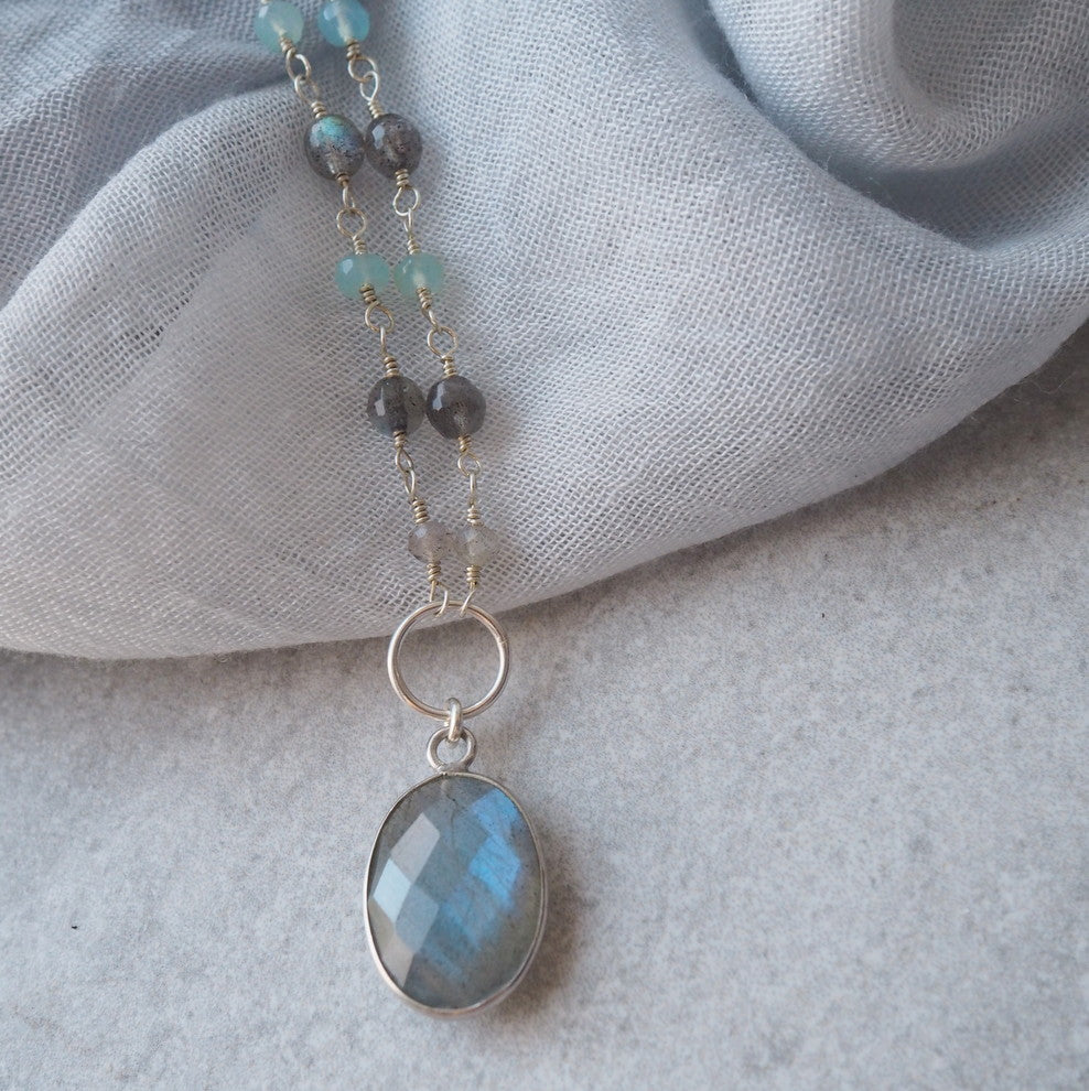 Labradorite Gemstone Necklace with Sterling Silver
