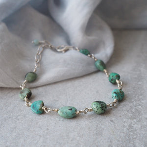 Turquoise Stone Beaded Chain Silver Bracelet