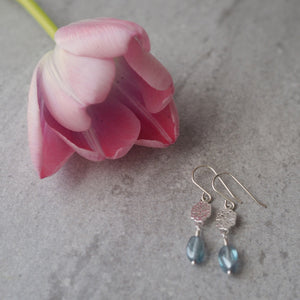 Sterling Silver Drop Earrings with Blue Glass by Wallis Designs