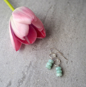 Gemstone Drop Earrings with Amazonite in Aqua