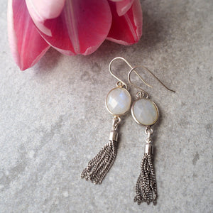 Elegant Tassel Earrings with Moonstone Gemstones