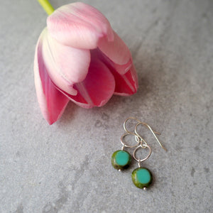 Turquoise Green Glass Bead Silver Earrings by Wallis Designs