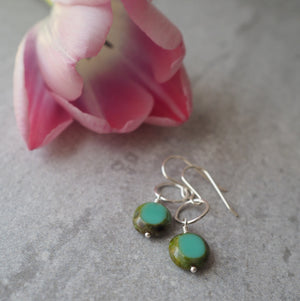 Sterling Silver Drop Earrings with Turquoise Green
