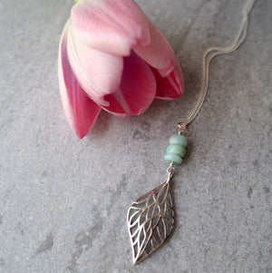 Long Necklace with Gemstone and Leaf Pendant