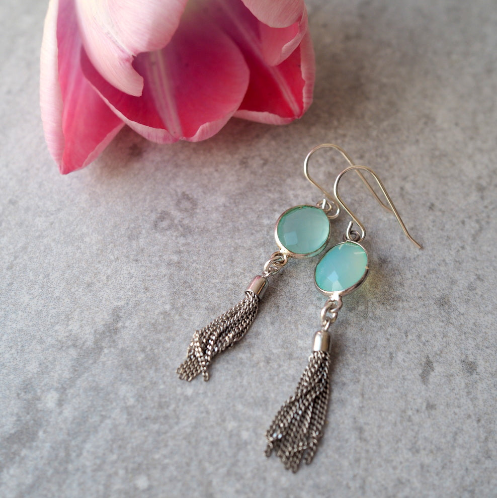 Gemstone and Tassel Earrings by Nancy Wallis Designs