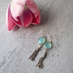 Aqua Chalcedony and Tassel Earrings by Wallis Designs