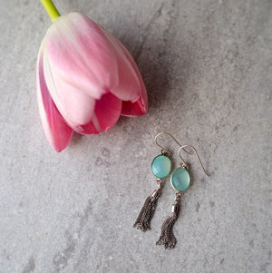 Gemstone Tassel Earrings with Aqua Chalcedony