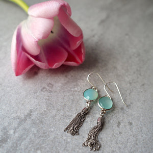 Silver Tassel Earrings with Aqua Chalcedony