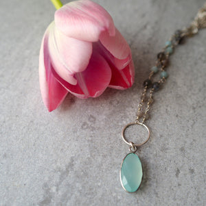Aqua Chalcedony Gemstone Necklace with Labradorite