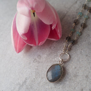 Labradorite Gemstone Necklace with Gemstone Chain