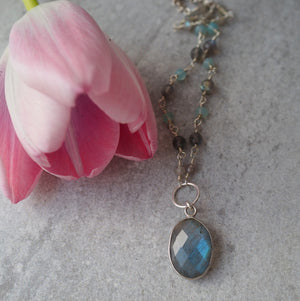Gemstone Necklace with Labradorite Pendant by Wallis Designs