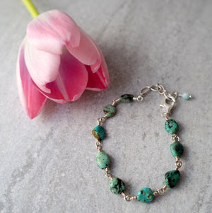Turquoise Stone Bracelet with Sterling Silver