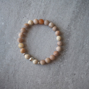 Stretch Bracelet with Sunstone and Sterling Silver