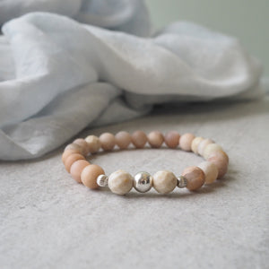Sunstone and Riverstone Bracelet by Nancy Wallis Designs