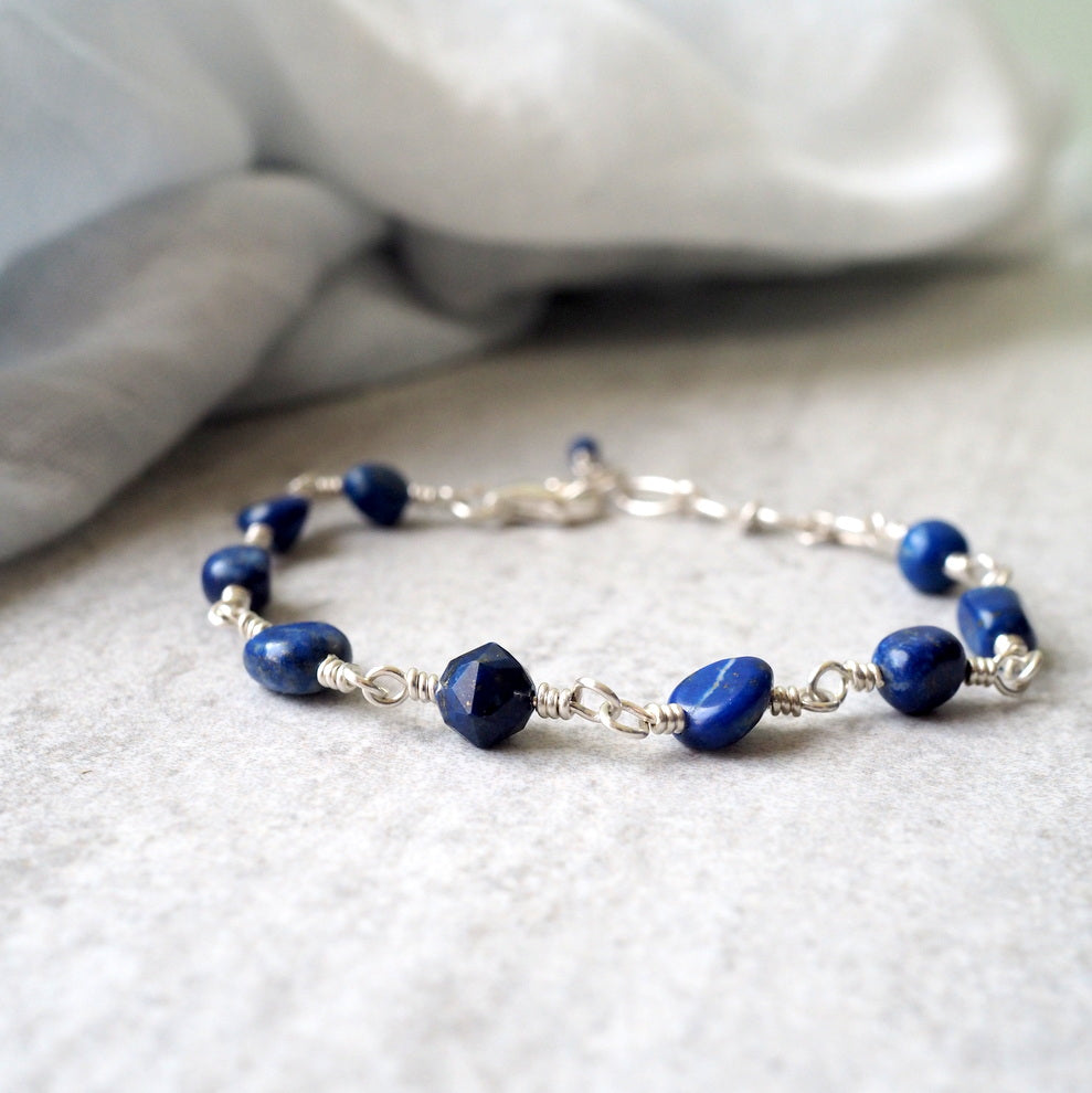 Lapis Lazuli Gemstone Bracelet with Sterling Silver