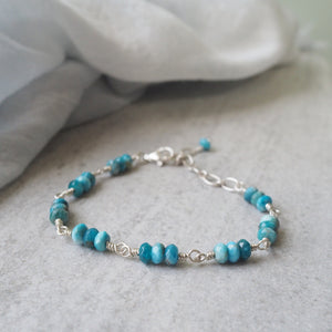 Blue Gemstone Bracelet with Apatite by Wallis Designs