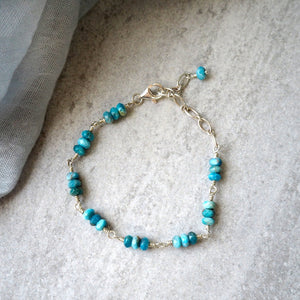Silver Gemstone Bracelet with Blue Apatite