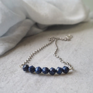 Gemstone Bar Necklace with Lapis Lazuli and Silver