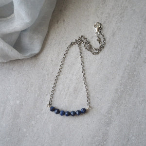 Dark Blue Gemstone Bar Necklace with Oxidized Sterling Silver