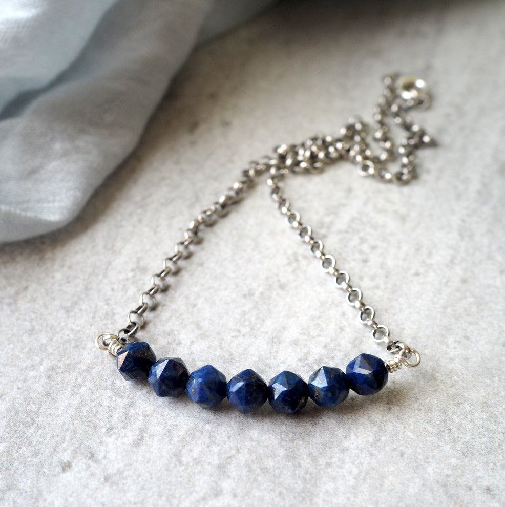 Lapis Lazuli Gemstone Bar Necklace with Oxidized Silver