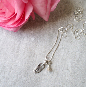 Feather Charm Necklace with fine chain by Wallis Designs