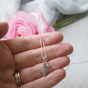 Tiny Feather Charm necklace in Sterling Silver
