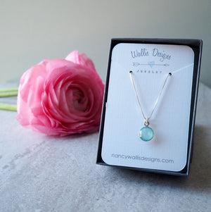 Aqua Chalcedony Minimalist Necklace by Wallis Designs