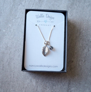 Leaf Charm Necklace with Sterling Silver Chain