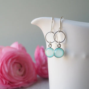 Aqua Chalcedony Gemstone Drop Earrings in Sterling Silver