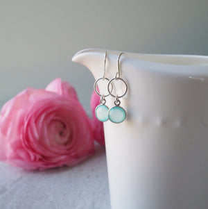 Aqua Chalcedony Gemstone Earrings by Wallis Designs