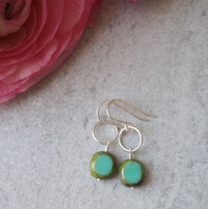 Silver Earrings with Oval Turquoise Green Glass beads