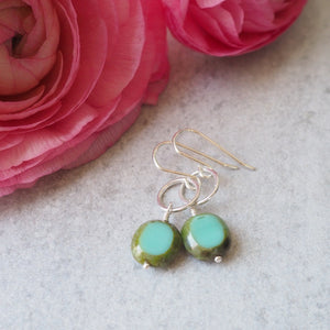 Sterling Silver Summer Earrings with Turquoise Glass Bead