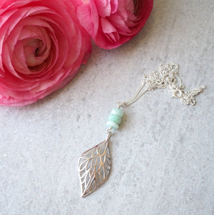 Long Silver Necklace with Amazonite and Leaf Pendant