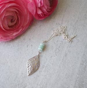 Leaf Necklace with Amazonite by Wallis Designs