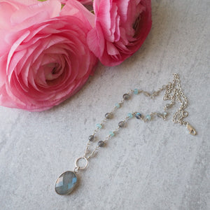 Gemstone Necklace with Labradorite and Blue Chalcedony