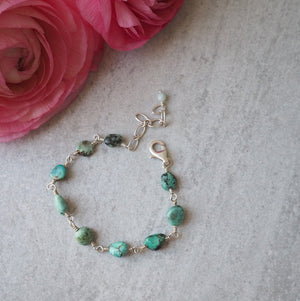 Turquoise Stone Bracelet with Adjustable Closure