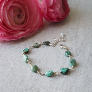 Turquoise Stone Chain bracelet by Nancy Wallis Designs