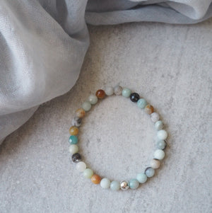 Stretch stone Bracelet with Black Gold Amazonite and silver