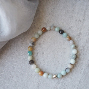 Black Gold Amazonite Stretch Bracelet by Wallis Designs