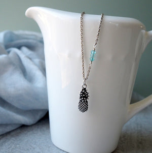 Silver Pineapple necklace by Nancy Wallis made in Canada