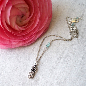 Silver Pineapple necklace by Wallis Designs in Canada