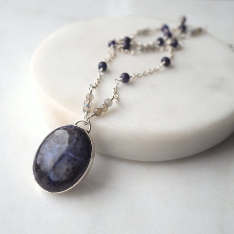 Blue agate necklace with sterling silver chain.