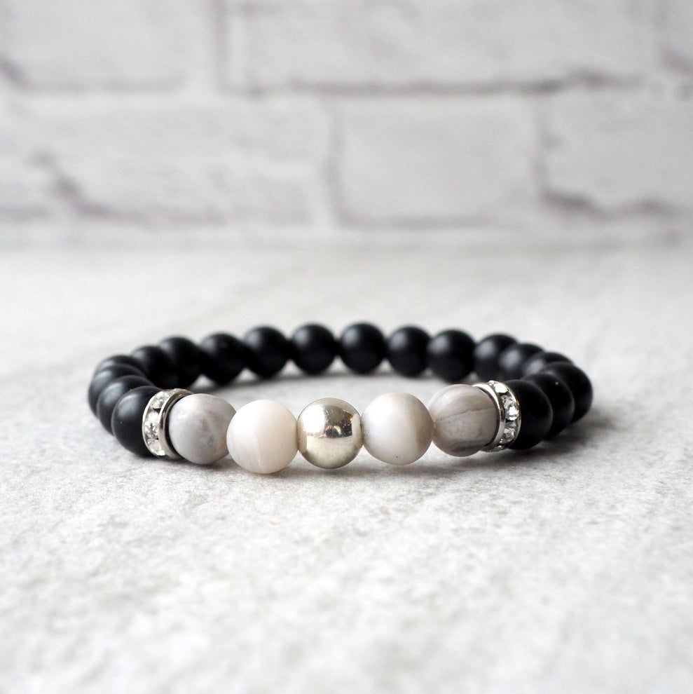 Black and White Gemstone Bracelet by Wallis Designs