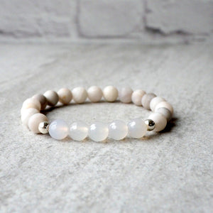 White Agate Gemstone Bracelet by Nancy Wallis Designs