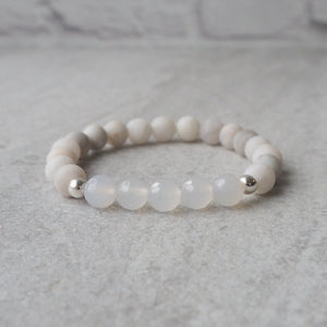 White Gemstone Bracelet made in Canada by Wallis Designs