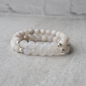 White stone Stretch Bracelets by Nancy Wallis Designs