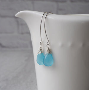 Blue Gemstone Earrings by Wallis Designs