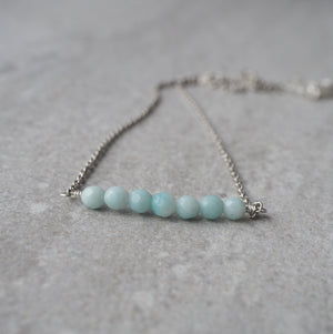 Gemstone Bar Necklace with Amazonite in Mint Green